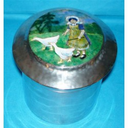 Liberty Tudric Antique Pewter Box and Cover with Enamelled Picture to Lid (c.1903)