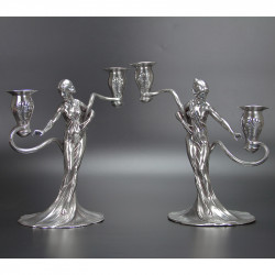 Antique WMF Pair of Art Nouveau Silver Plated Candelabra (c.1900)