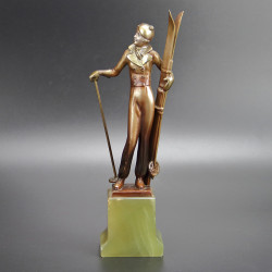Josef Lorenzl Art Deco Bronze Figure of a Female Skier (c.1925)