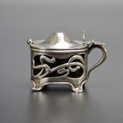 Silver Art Nouveau Mustard Pot and Spoon by William Devenport (1904)
