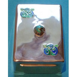 Archibald Knox for Liberty & Co Cymric silver, turquoise and enamel box. Hallmarked: L & Co Cymric Birmingham 1907