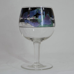 Vedar Glass Goblet Enamelled with Maidens and Peacocks (c.1925)