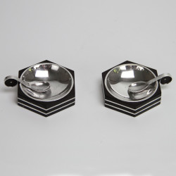 Art Deco Silver and Ebony Pair of Salts and Spoons by GAB (c.1930)