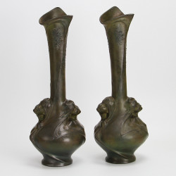Art Nouveau French Patinated Spelter Vases Signed Melle. Sibeud (c.1900)