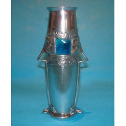 Antique Archibald Knox for Liberty & Co Pewter and Enamel Vase (c.1903)