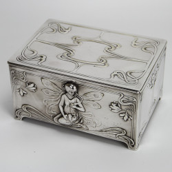 Antique WMF Art Nouveau Silver Plated Cigar Box with Cedar Lining (c.1900)