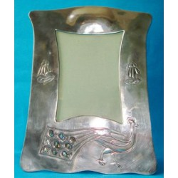 Liberty Peacock pewter and Abalone shell picture frame. Marked Tudric 046. (c.1900)