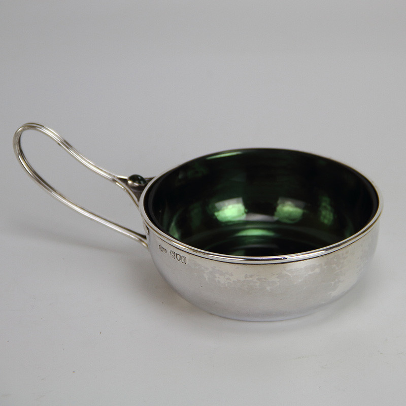 C R Ashbee Arts and Crafts Silver Porringer Set with Oval Cabochon Hallmarked for London 1906