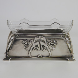 WMF Art Nouveau Silver Plated Flower dish with original crystal cut glass liner (c.1900)