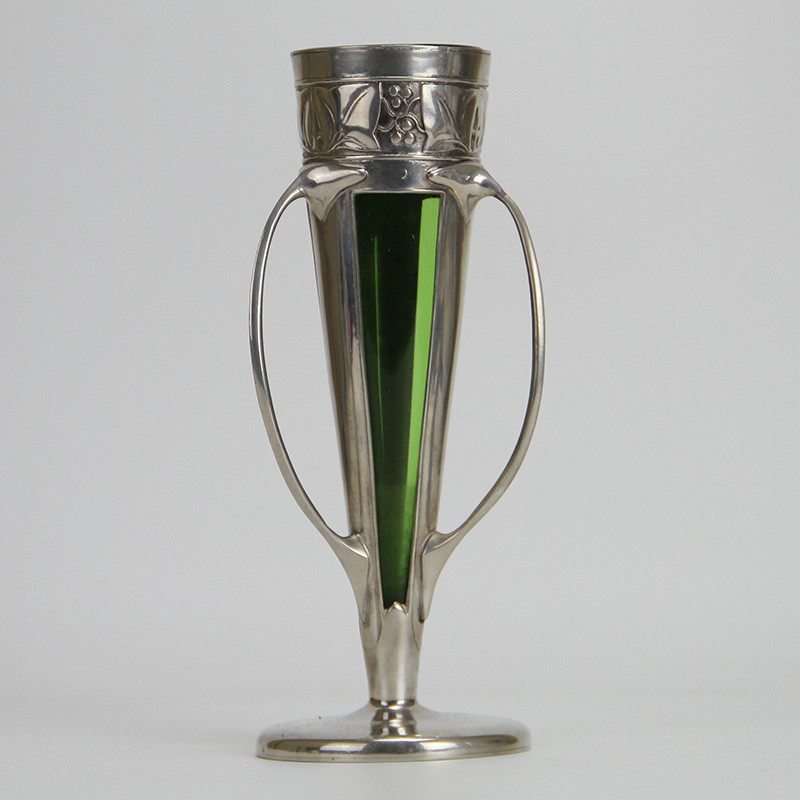 Archibald Knox for Liberty & Co Art Nouveau Pewter Vase with Powell Green Glass Liner