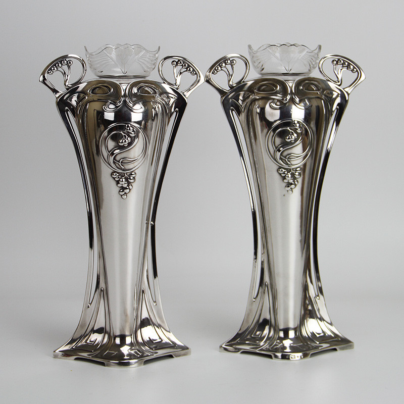 Antique Pair of WMF Art Nouveau Silver Plated Flower Vases (c.1906)