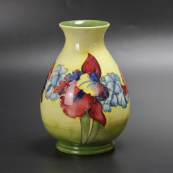 Walter Moorcroft Orchids Pattern Vase on a Yellow Green Ground (c.1950)