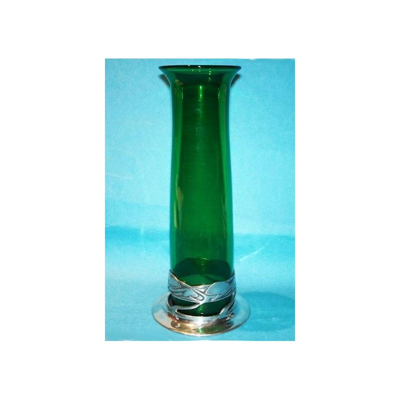 Archibald Knox for Liberty & Co Pewter Vase with Original Powell Green Glass Liner (c.1903)