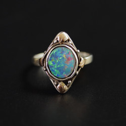 Arts and Crafts Silver Gold and Boulder Opal Ring Attrib to School of Rhoda Wager (c.1925)