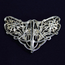 Art Nouveau Pierced & Embossed Silver Thistle Design Buckle Marples & Co, Chester 1909.