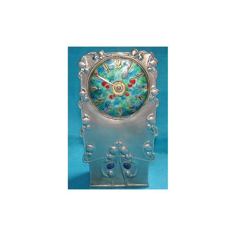 Archibald Knox for Liberty & Co Pewter and Enamel Clock in Working Order (c.1903)