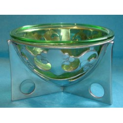 Archibald Knox for Liberty & Co antique pewter bowl with original Powell glass liner (c.1903)