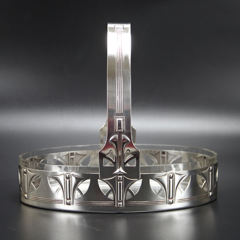 WMF Art Nouveau Silver Plated Fruit Dish with Original Crystal Cut Glass Liner (c.1906)
