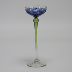 Fritz Heckert Flower Form Blue Enameled Art Nouveau Liqueur Glass (c.1900)