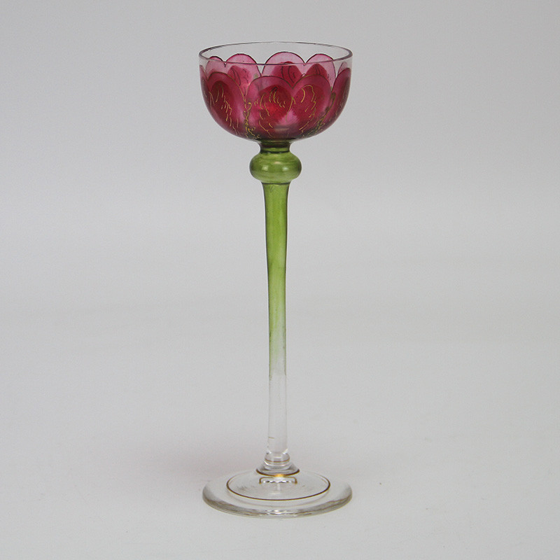 Fritz Heckert Flower Form Pink Enameled Art Nouveau Liqueur Glass (c.1900)
