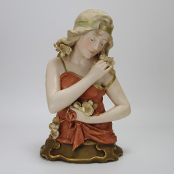 Ernst Wahliss Art Nouveau Jugendstil Pottery Half Figure of a Girl (c.1900)