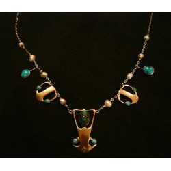 Archibald Knox for Liberty & Co antique 15ct gold necklace set with turquoise and pearls. Unmarked. (c.1902)