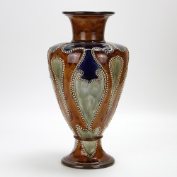 Doulton Lambeth Art Nouveau stoneware vase decorated by Frank Butler c.1900