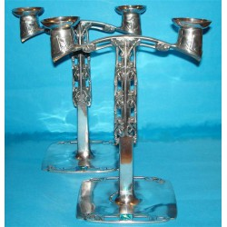 Archibald Knox for Liberty & Co pewter and enamel candleabra. Stamped marks - No 0530. (c.1903)