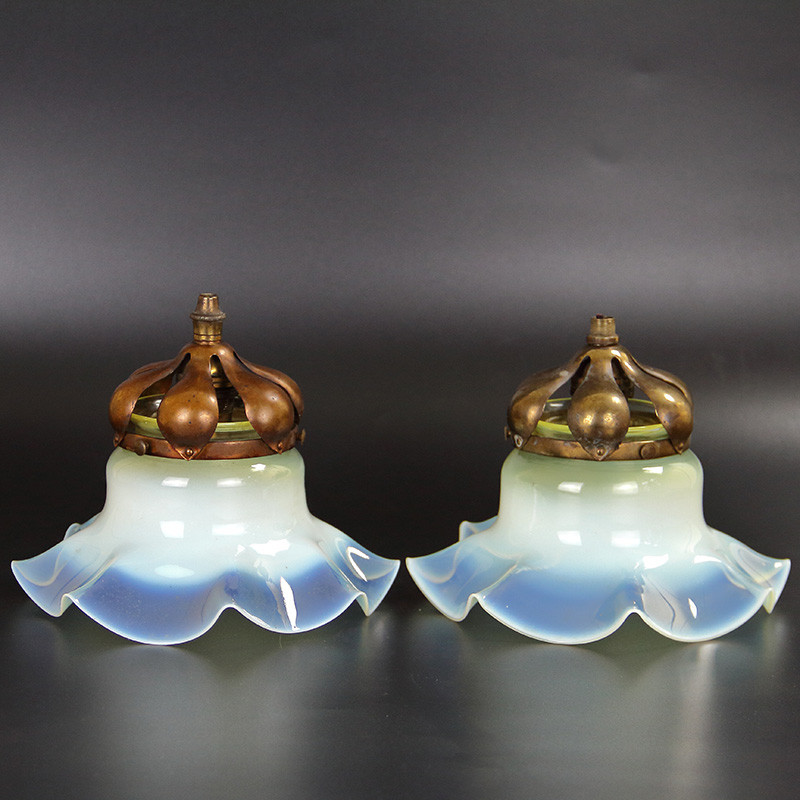 Antique Vaseline Glass Light Shades with Original Gallery Fittings (c.1900)