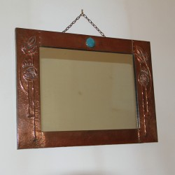 Antique Arts and Crafts Rectangular Planished Copper Wall Mirror (c.1900)