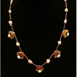 Archibald Knox for Liberty & Co 15ct gold necklace set with opals and pearls. Unmarked. (c.1902)