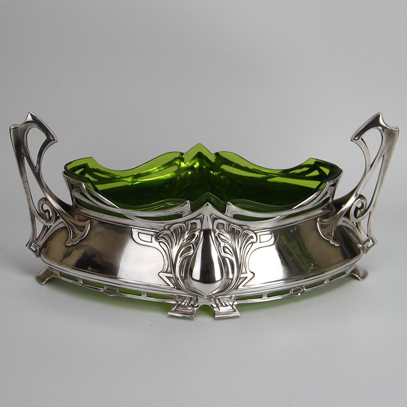 WMF Art Nouveau Silver Plated Flower Dish with Cut Glass Liner