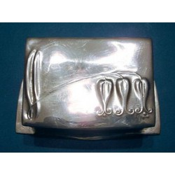 Archibald Knox for Liberty & Co pewter stamp box. Stamped marks - Tudric 024. (c.1903)