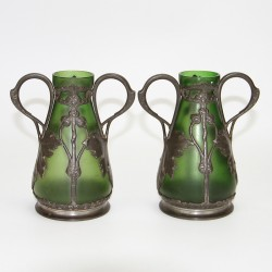 Art Nouveau Green Glass and Pewter Embossed Vases c. 1900