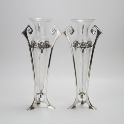 WMF Pair of Art Nouveau Silver Plated Vases. Circa 1900.
