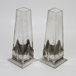 Pair of Urania Art Nouveau Pewter Vases with Original Crystal Cut Glass Liners.