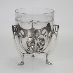WMF Silver Plated Celery Stand with Original Crystal Cut Glass Liner. c.1900.
