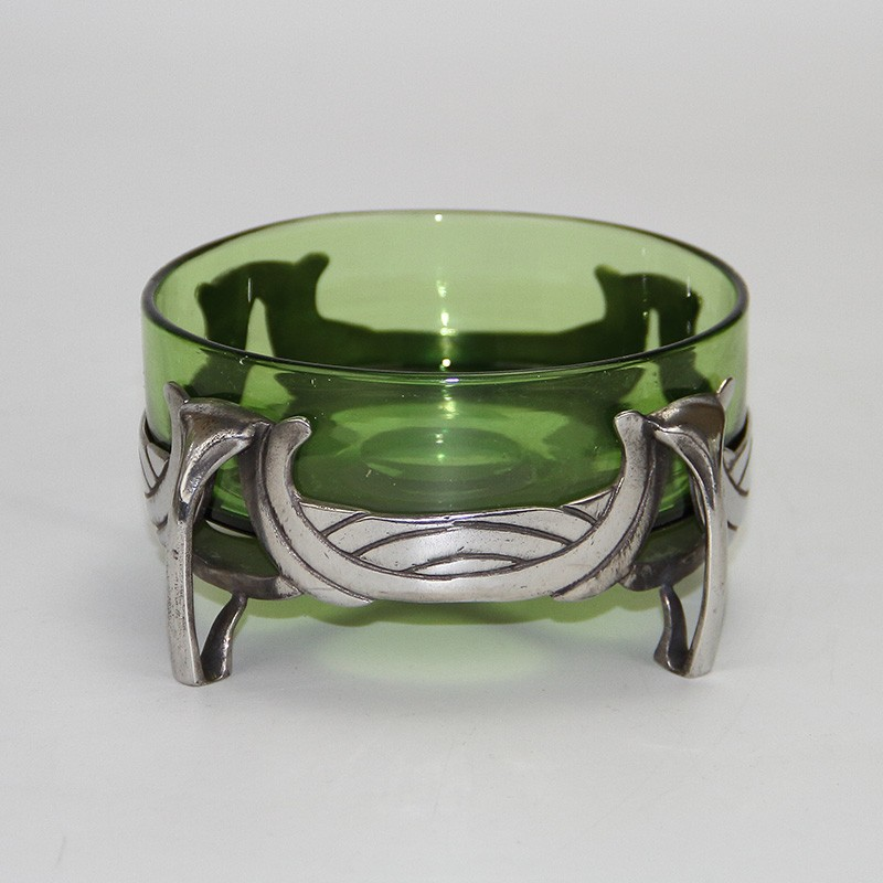 Archibald Knox for Liberty & Co Pewter Butter Dish with original Powell green glass liner. c.1900.