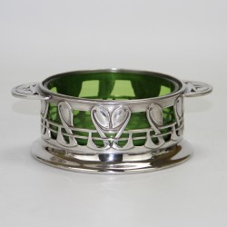 Archibald Knox for Liberty & Co Pewter Bowl with Powell Green Glass Liner. c.1905.