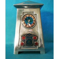 Archibald Knox for Liberty & Co pewter and enamel clock. Stamped marks - English pewter 0629. (c.1903)