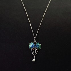 William Hair Haseler Art Nouveau Silver and Enamel Pendant with Baroque Pearl Drop