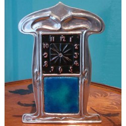 Pewter and Enamel Clock. Made by Liberty & Co Tudric 0367 (c.1903)