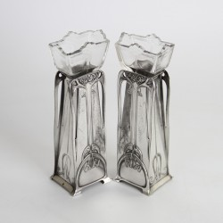 WMF pair of Art Nouveau Silver Plated Vases c.1900.