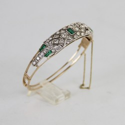 Art Deco Gold and Silver Bracelet Set with Diamonds and Emeralds c.1930