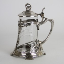 WMF Art Nouveau Silver Plated Tankard with Crystal Cut Glass Liner (c.1905)