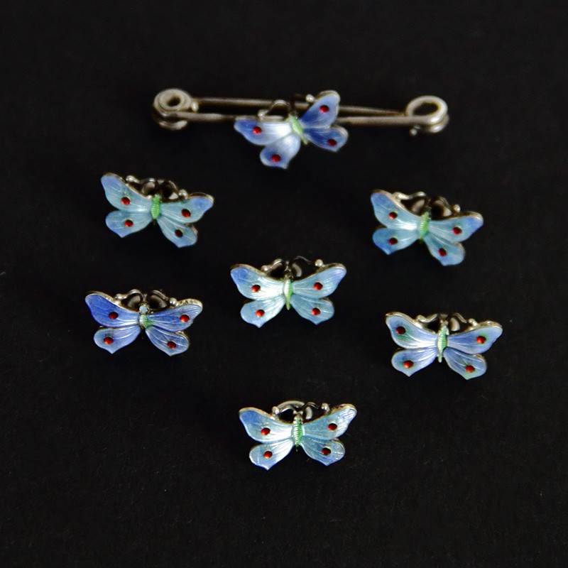 Silver and Enamel Butterfly Dress Studs and Pin in Original Box c.1910