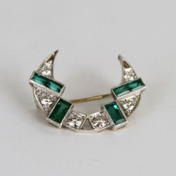 Emerald and Diamond Crescent Brooch c.1930