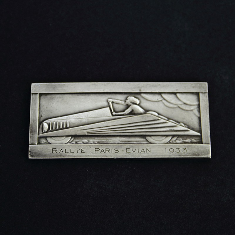 Art Deco French Silver Plated Bronze Motoring Plaque Signed H Demey 1933