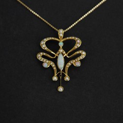 Art Nouveau 15ct Gold Opal and Seed Pearl Pendant. Circa 1905