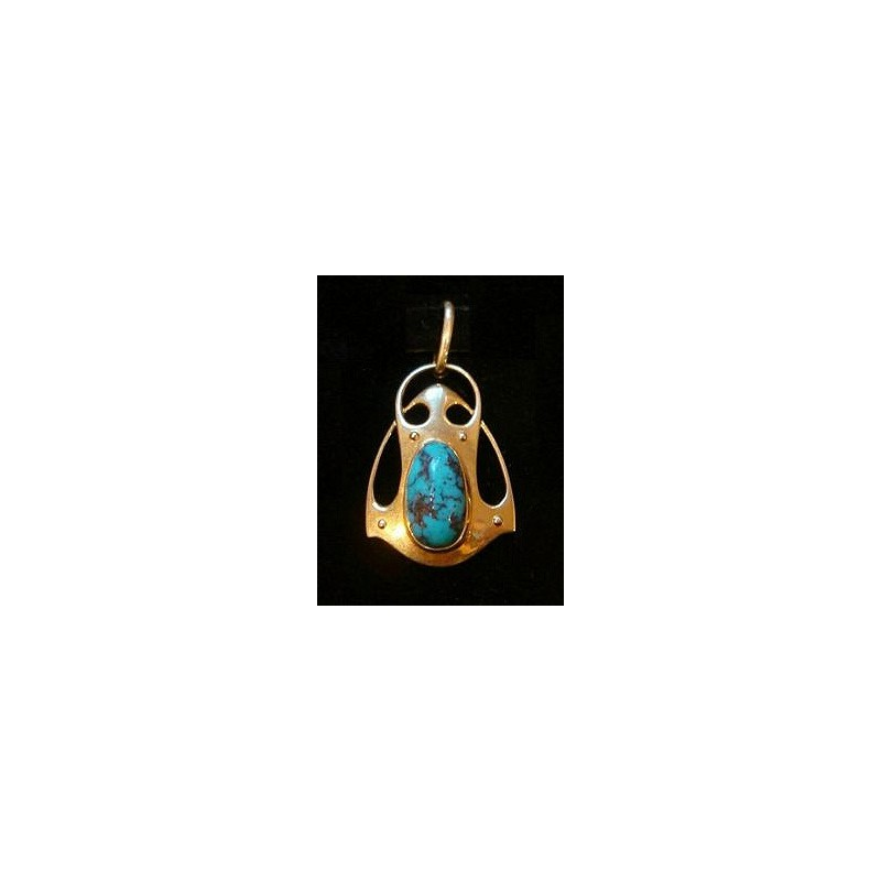Murrle Bennett 15ct gold and turquoise pendant. Stamped marks (c.1900)